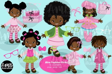 Afro Fashion girls clipart Fashion girl clipart Dark skin school girl clipart African American girl clip art AMB 199 B by AMBILLUSTRATIONS Catch My Party