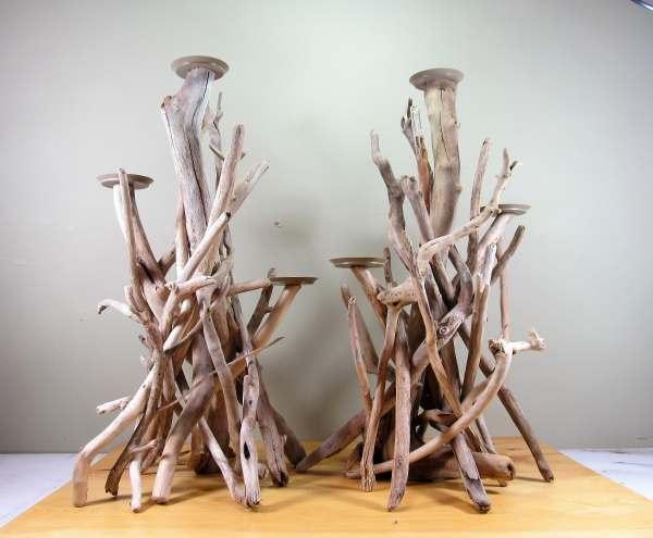 2 Foot Tall 3 Pillar Candle Driftwood Candelabra