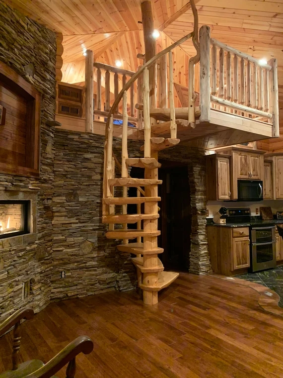 Rustic Pine Spiral Staircase Custom Made To Order Etsy | 9 Foot Spiral Staircase | Stair Railing | Mylen Stairs | Stairway | Stair Parts | Staircase Railings