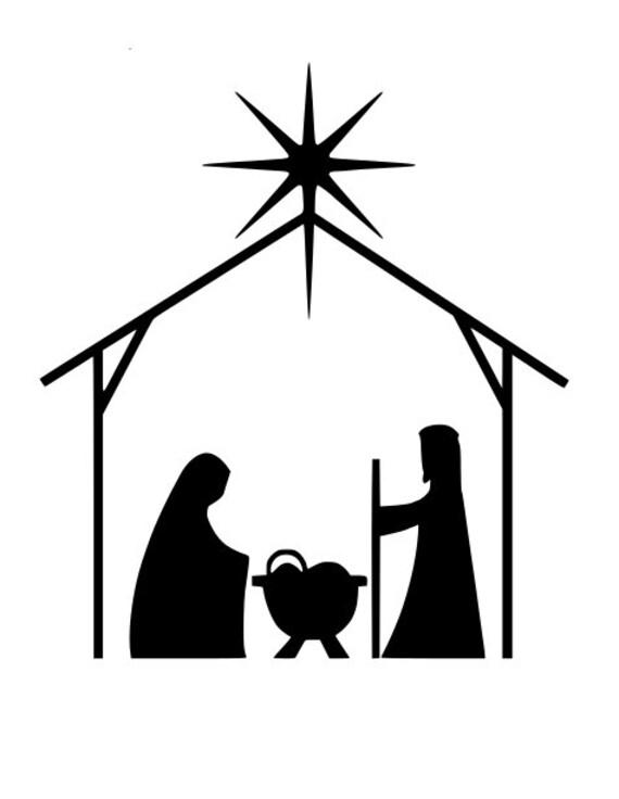 Manger Svg : manger, Simple, Modern, Nativity, Scene, Christmas, Happy