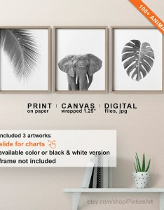 Image also tropical jungle print black and white wall art etsy rh