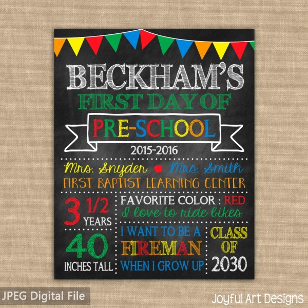 Day Of School Chalkboard Printable Sign