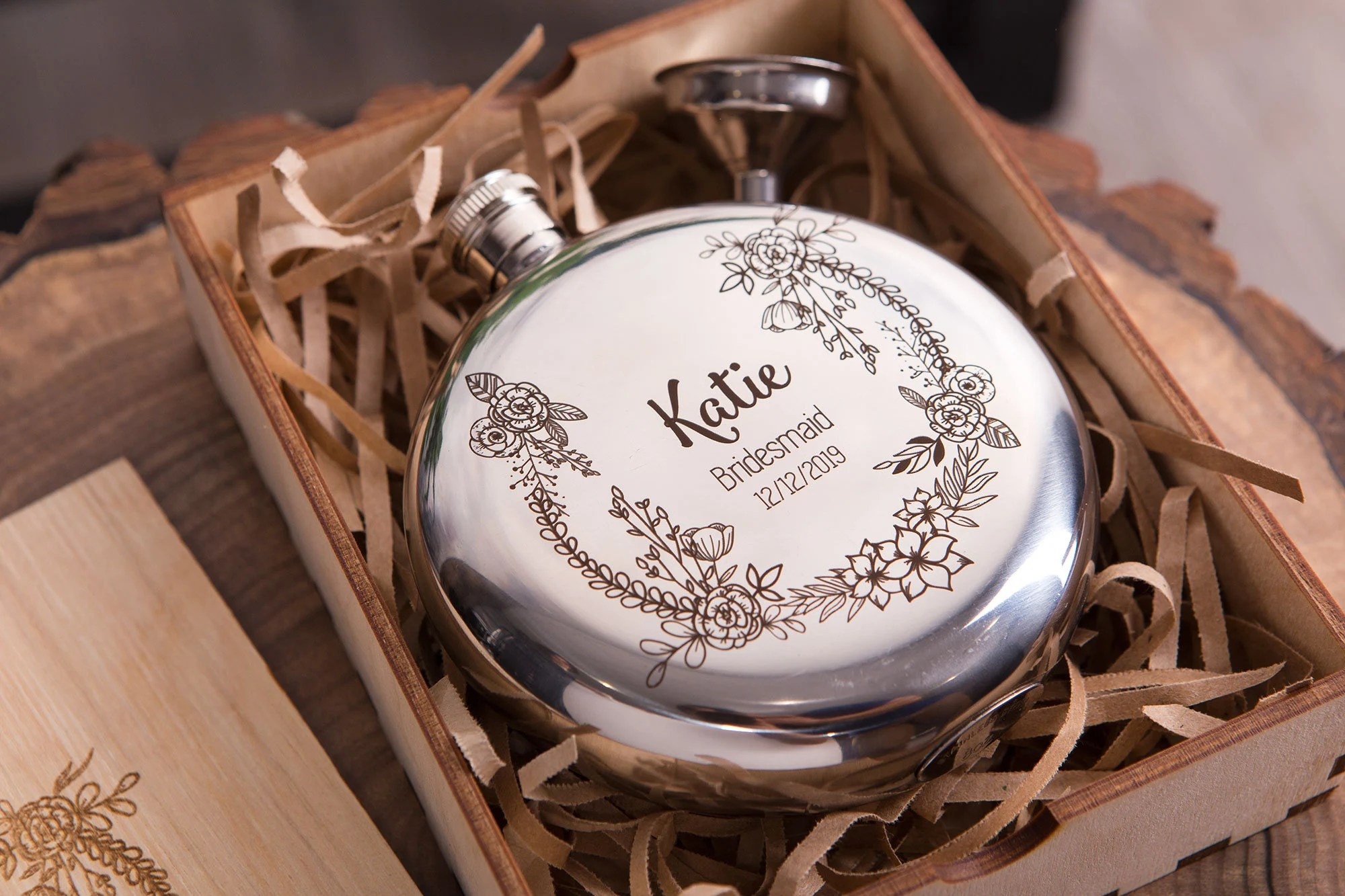 Personalized Flask for Women  Bridesmaid Flask  Optional image 3