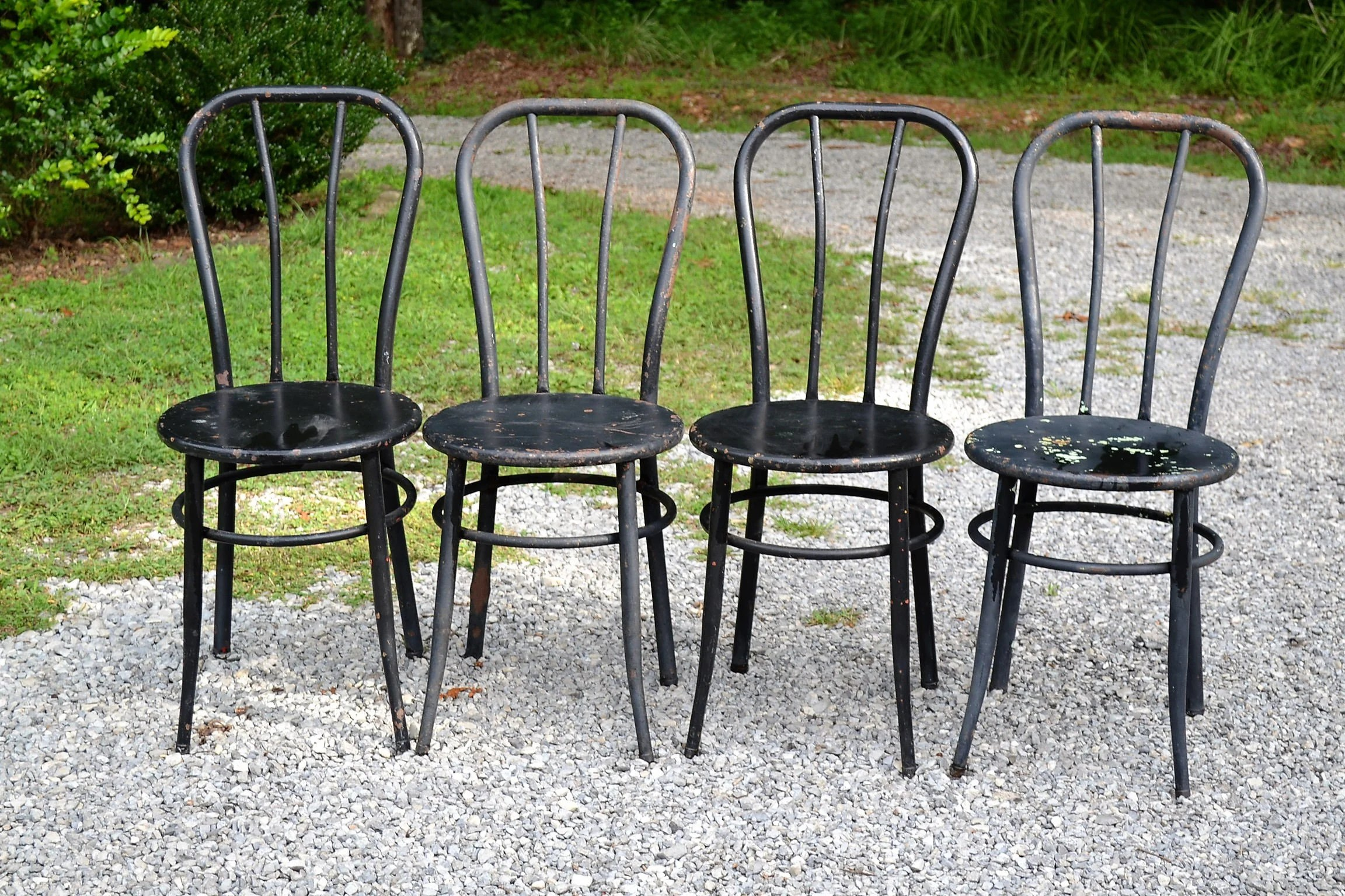 green metal bistro chairs resin wicker chair vintage set of 4 black chippy paint old etsy image 0