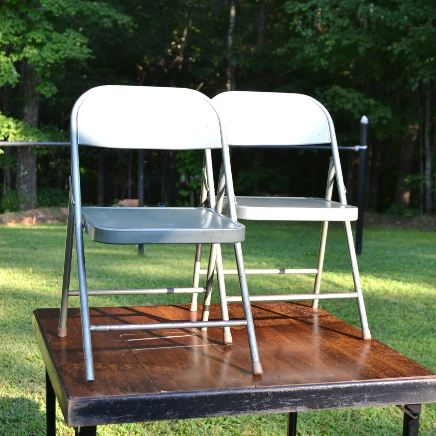 krueger folding chairs power chair batteries u1 vintage child size gray metal etsy image 0