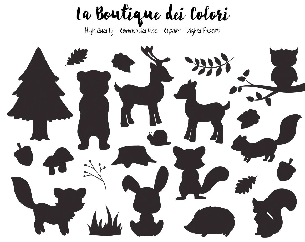 Woodland Animals Silhouette Clipart Cute Graphics Eps And