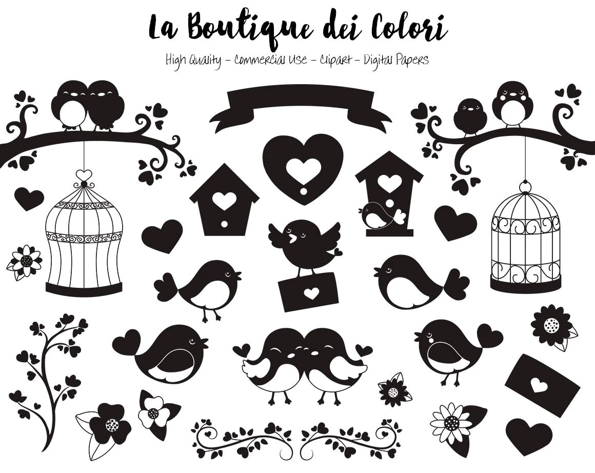Valentine S Day Birds Silhouette Clipart Cute Digital