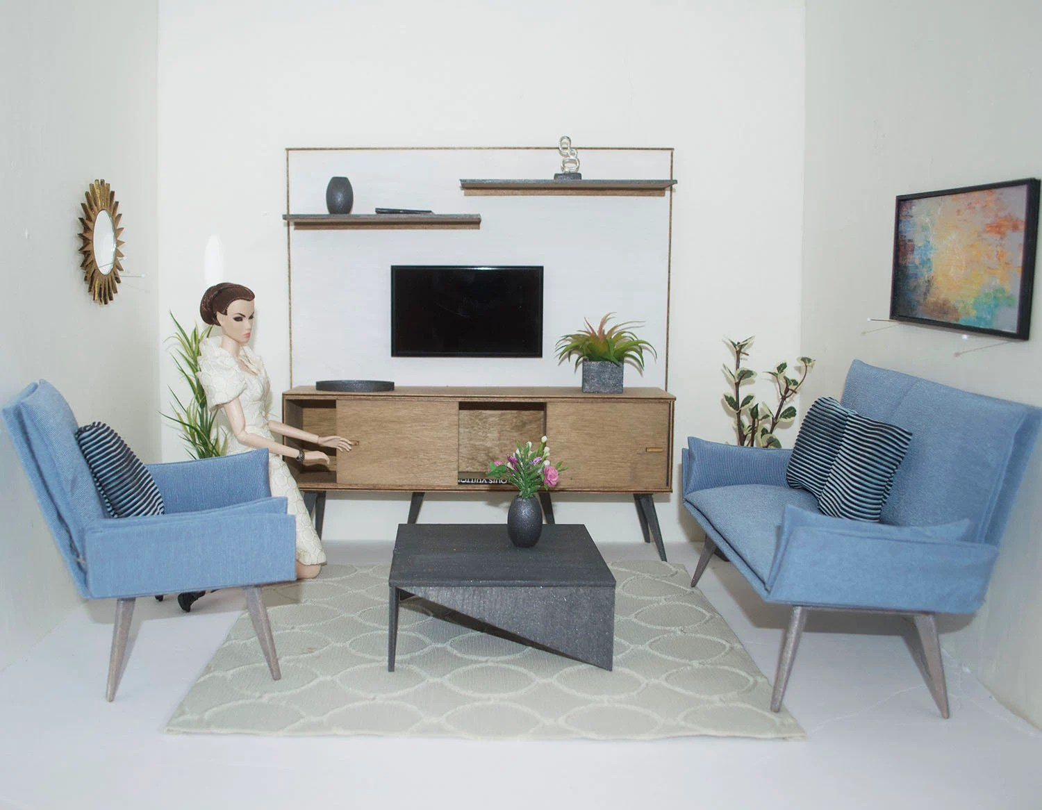living room furniture sofa chair decorating styles for diorama 1 6 scale modern mid century etsy image 0