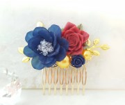 navy blue hair comb gold red rose