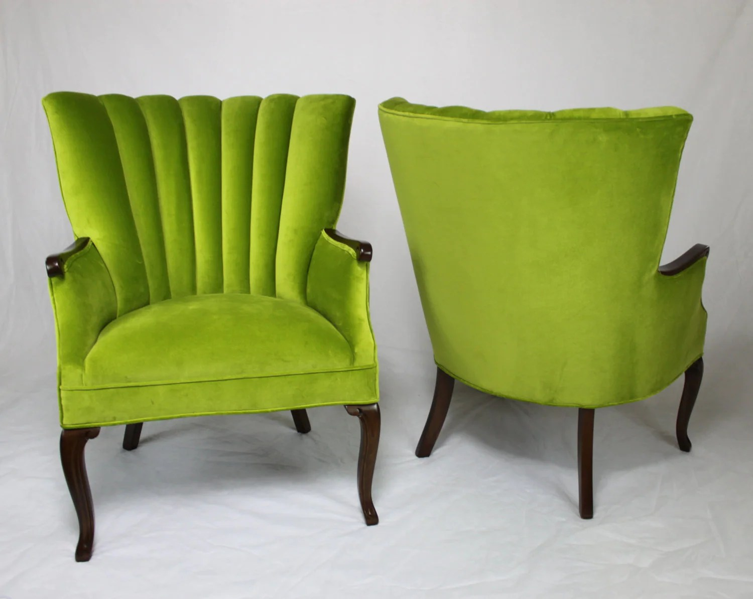Lime Green Chairs Sold Pair Of Vintage Antique Channel Back Chairs In Apple Green Velvet With Medium Brown Wood Lime Green Grass Green Bright Green