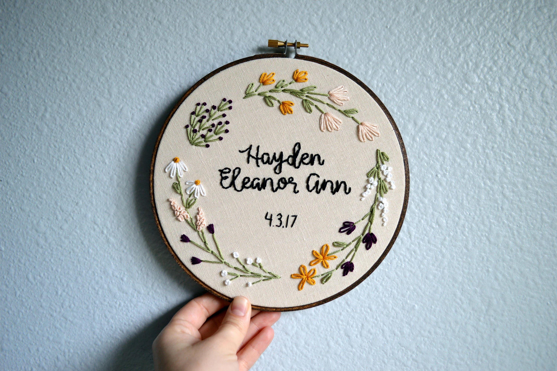 custom name embroidery hoop