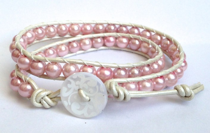 Pink Pearls / White -  Double Wrap Glass Bead Bracelet *FREE SHIPPING*