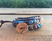 Blue and Brown Double Wrap Bracelet