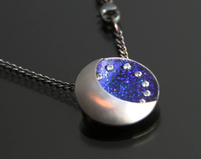 Moon Phase Necklace, Crescent Moon & Sky Necklace, Moon Sky Stars Necklace by Jackie Taylor Designs