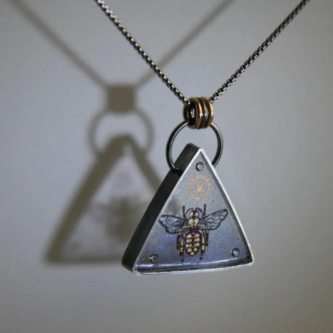 Steampunk Bee Necklace, Clockwork Bee, Pliqué a Jour Honey Bee Necklace by Jackie Taylor Designs