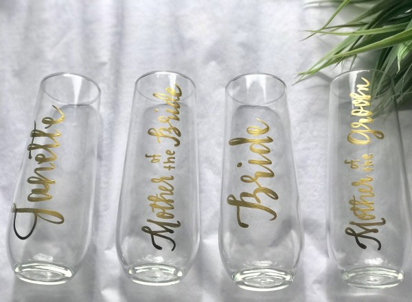 Personalized Stemless Champagne Flutes . Bridesmaid