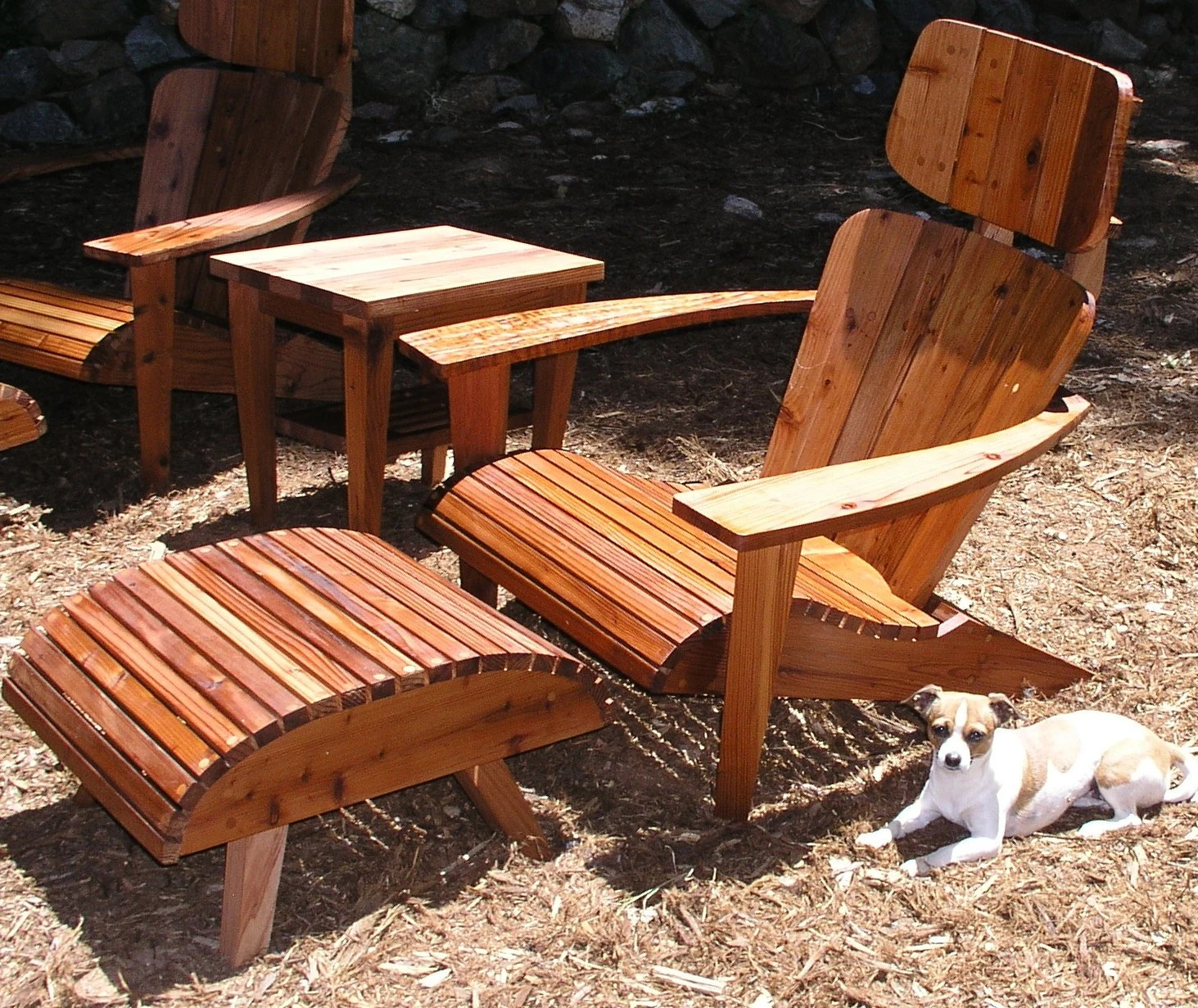 Adirondack Chair Set Modern Adirondack Chair Set Chair Headrest Ottoman And Side Table Reclaimed Redwood Mountain Modern Eames Lounge Chair