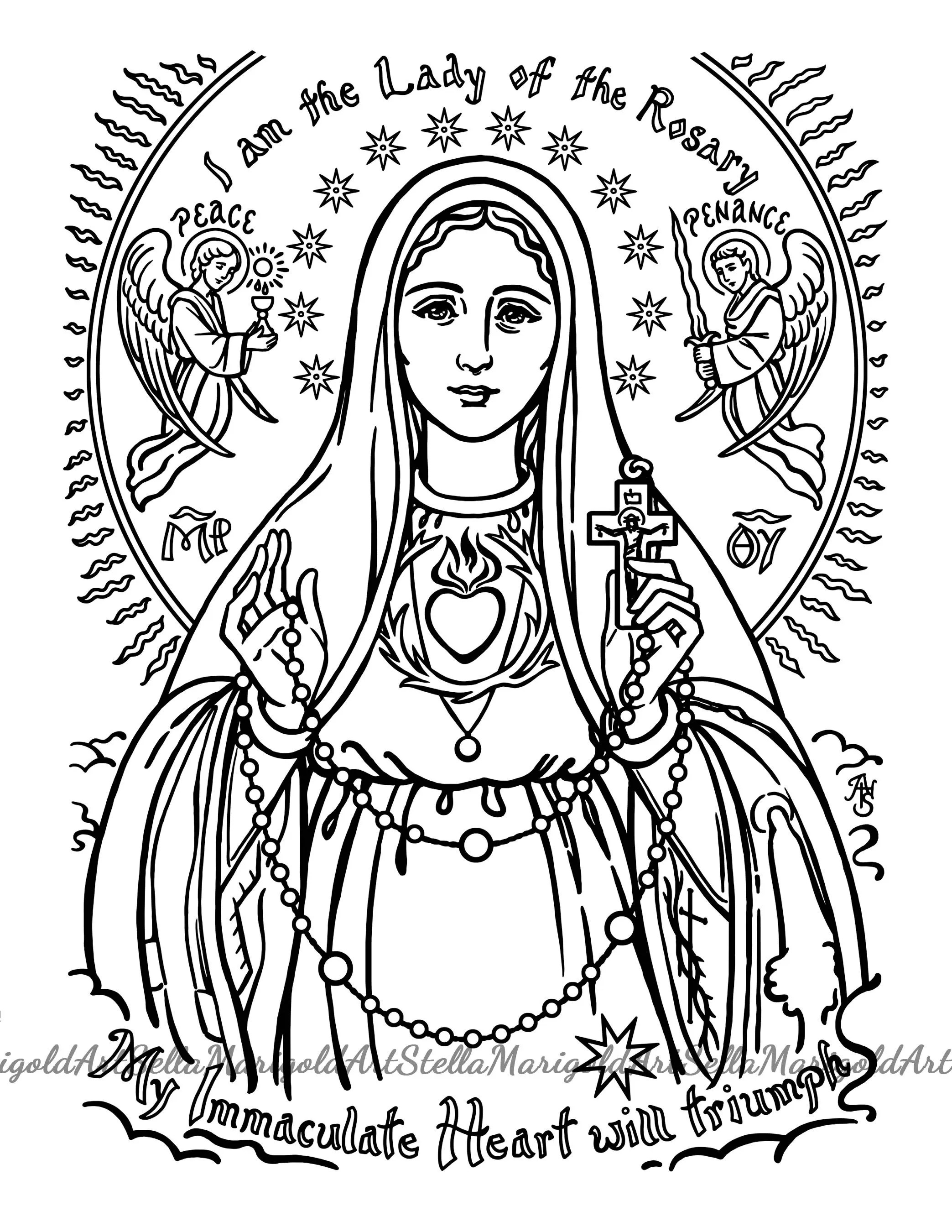 Our Lady Of Perpetual Help Coloring Page By Stellamarigoldart