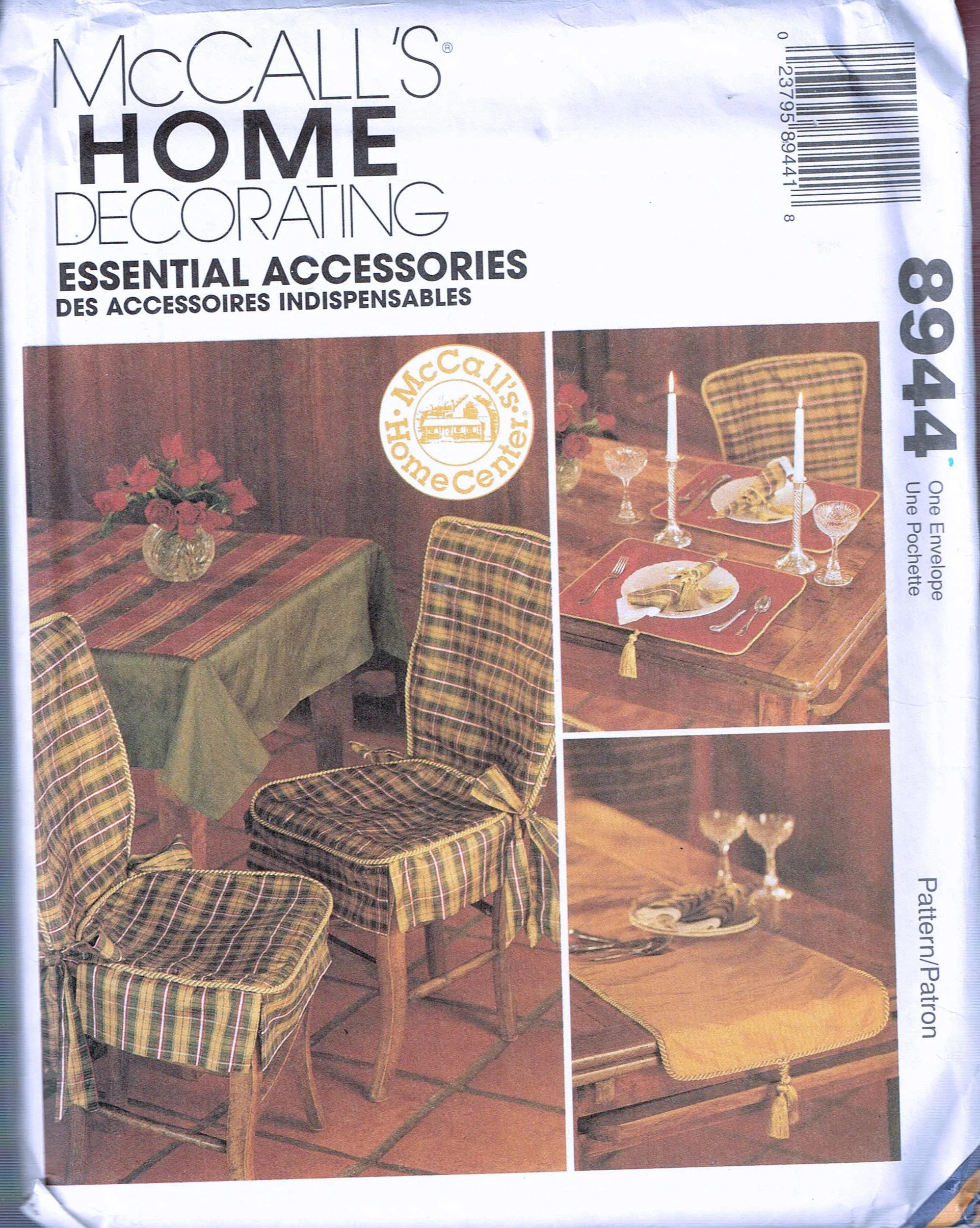 Chair Cover Patterns Tie Back Wooden Chair Cover Sewing Patterns Tie On Slip Cover Home Decor Sewing Pattern Mccalls Home Decor 8944