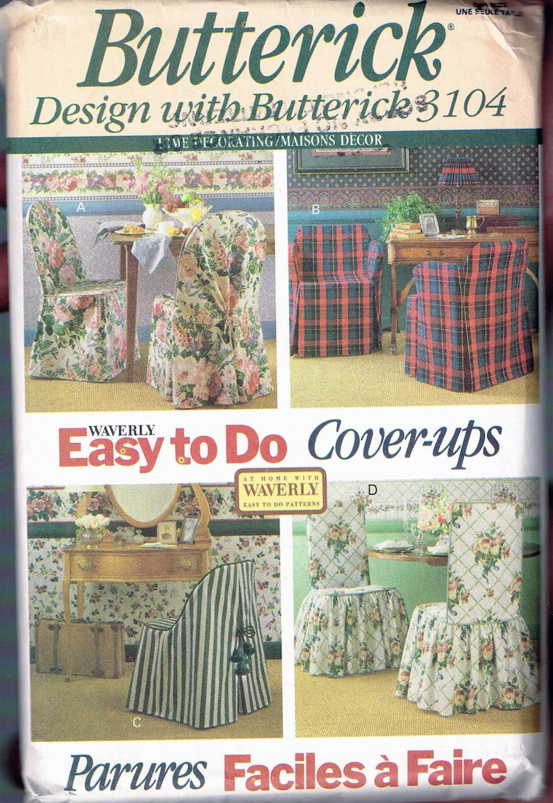 Chair Cover Patterns Easy Tie Back Chair Cover Sewing Patterns Tie On Chair Cover Butterick Home Decor Sewing Pattern 3104