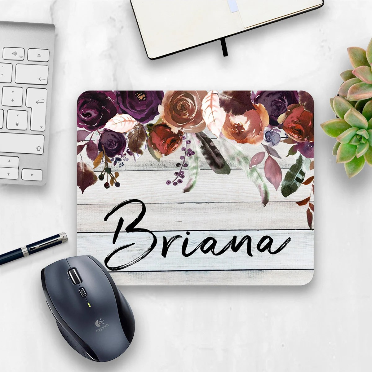 personalized mouse pad floral