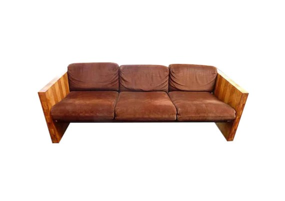 70s sofa leather sofas houston tx vintage with brown suede and butcher block mid etsy image 0