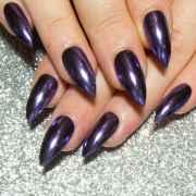 purple chrome nails stiletto fake