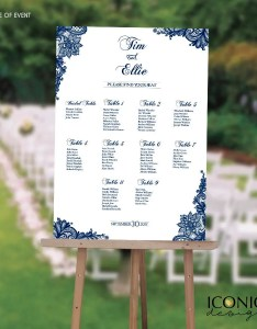 Wedding seating chart board elegant navy blue printable printed guest list template any color scw also rh shopiconica