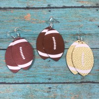 Leather Football Earrings Gameday Genuine Leather Sterling