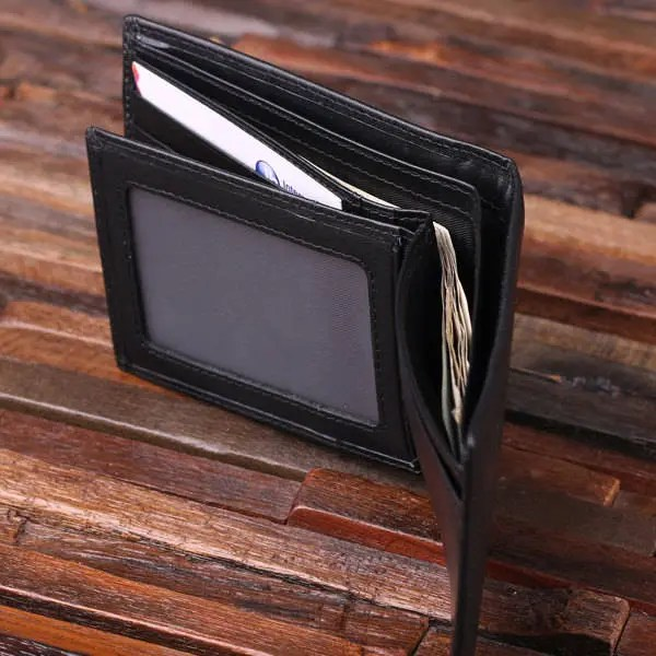 Personalized Monogrammed Engraved Genuine Leather Bifold Mens image 1