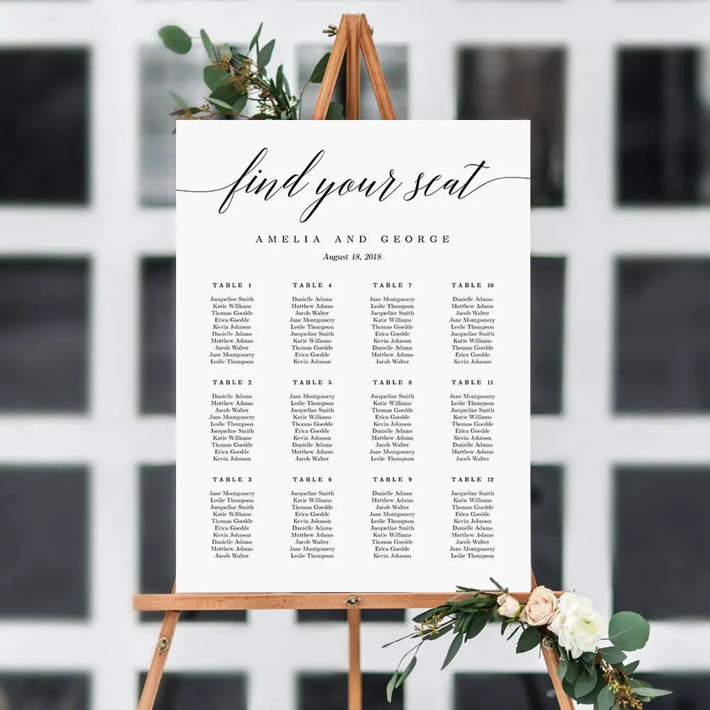On sale sizes wedding seating chart template editable table sign instant download modern find your seat msc also etsy rh