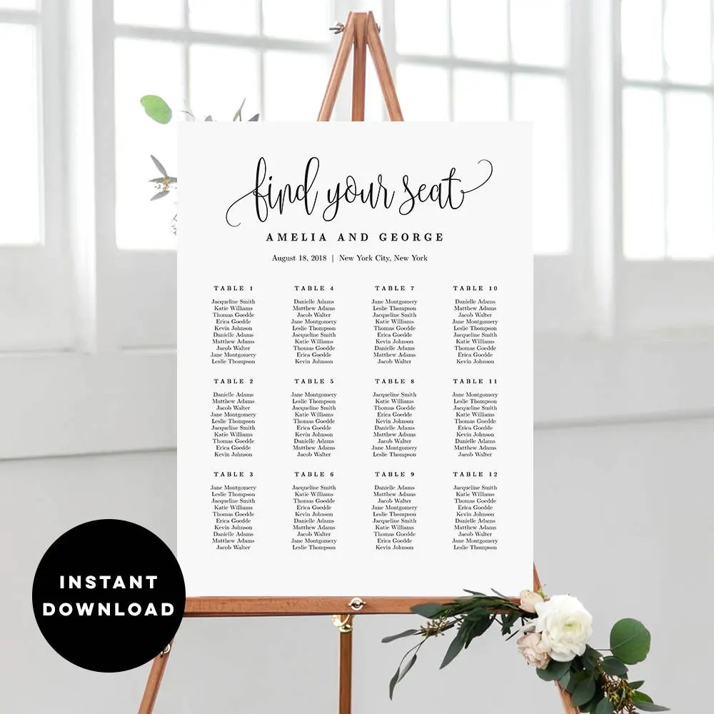 On sale sizes wedding seating chart template editable table plan sign instant download lovely calligraphy lcc also etsy rh