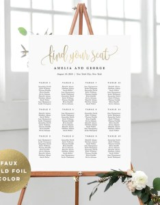 sizes wedding seating chart template faux gold foil color editable table plan instant download lovely calligraphy lcc also etsy rh