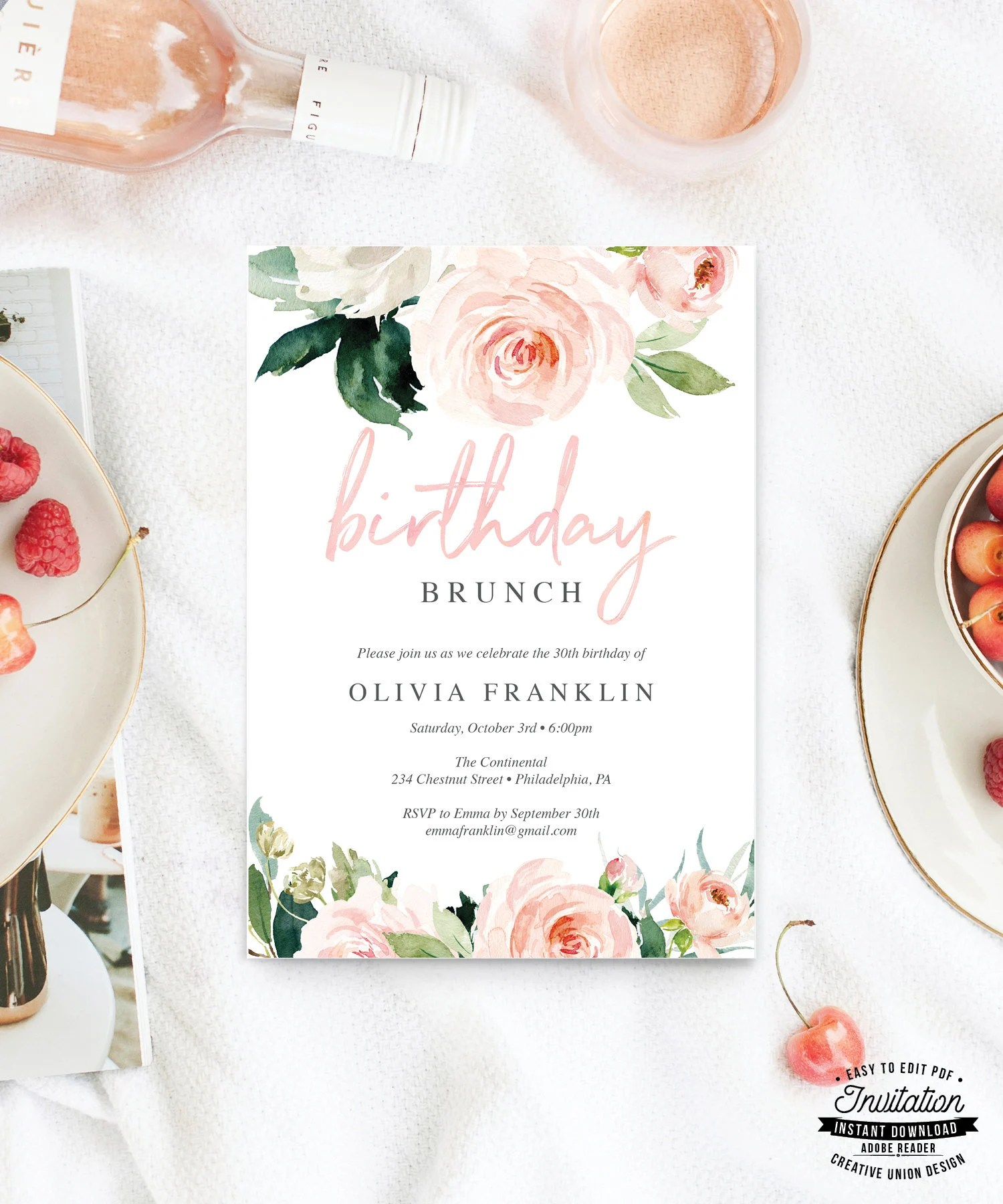 birthday brunch invitation for her 30th birthday invite printable birthday invitations editable birthday party invite airy blush