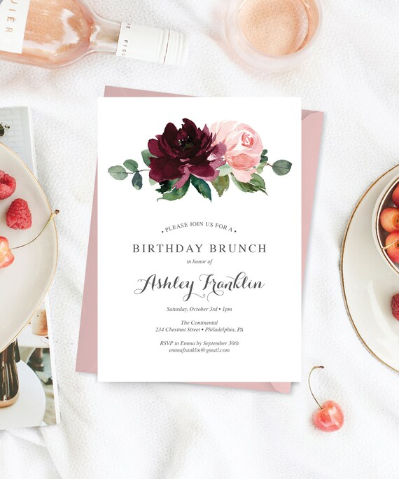 birthday brunch invitation for her