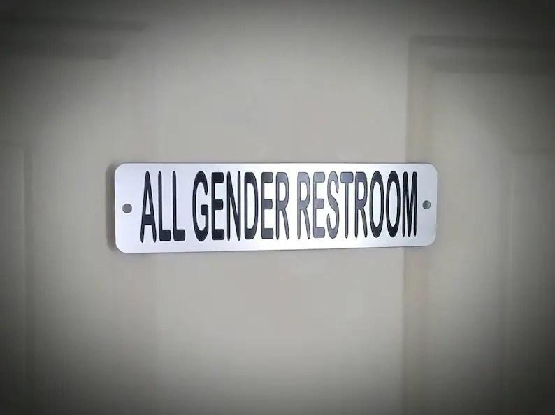 all gender restroom metal