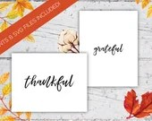 Grateful And Thankful Handwritten Thanksgiving Modern Calligraphy Wall Prints & SVG Cut Files | 8x10 | 4 PDFs | Digital Download | Printable