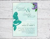 Mermaid Kisses & Starfish Wishes Mermaid Birthday Party Invitation | 5x7 Invitation | Printable Digital Download | Kid's Birthday Invitation