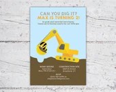 Can You Dig It Construction Equipment Birthday Invitation | 5x7 | Print-It-Yourself | Digital Download | Printable | Custom Invitation