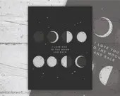 Love You To The Moon And Back | Phases of The Moon Print | Nursery Art, Wall Art | 8x10 | Print-It-Yourself  | Digital Download | Printable