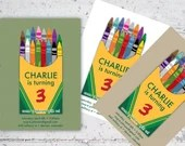 Kid's Crayon Themed Birthday Invite | 5x7 | Printable Digital Download | Crayons Kid's Birthday Party Crayola Inspired | Custom Invitation