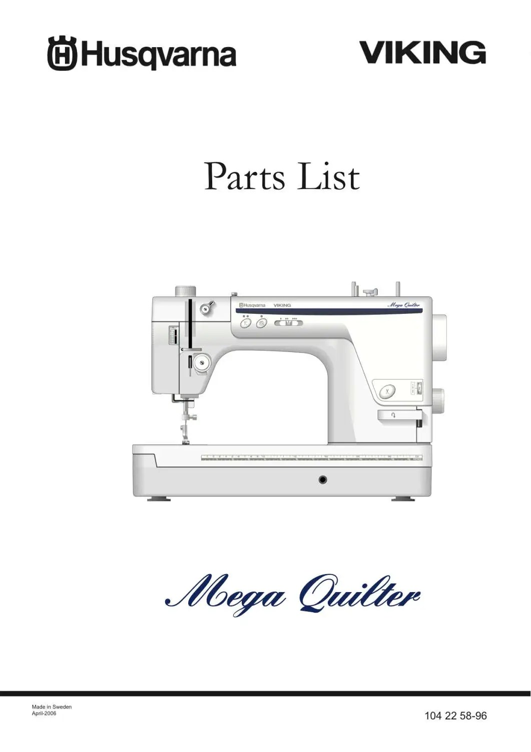 Husqvarna Viking Mega QUILTER Service / Repair manual