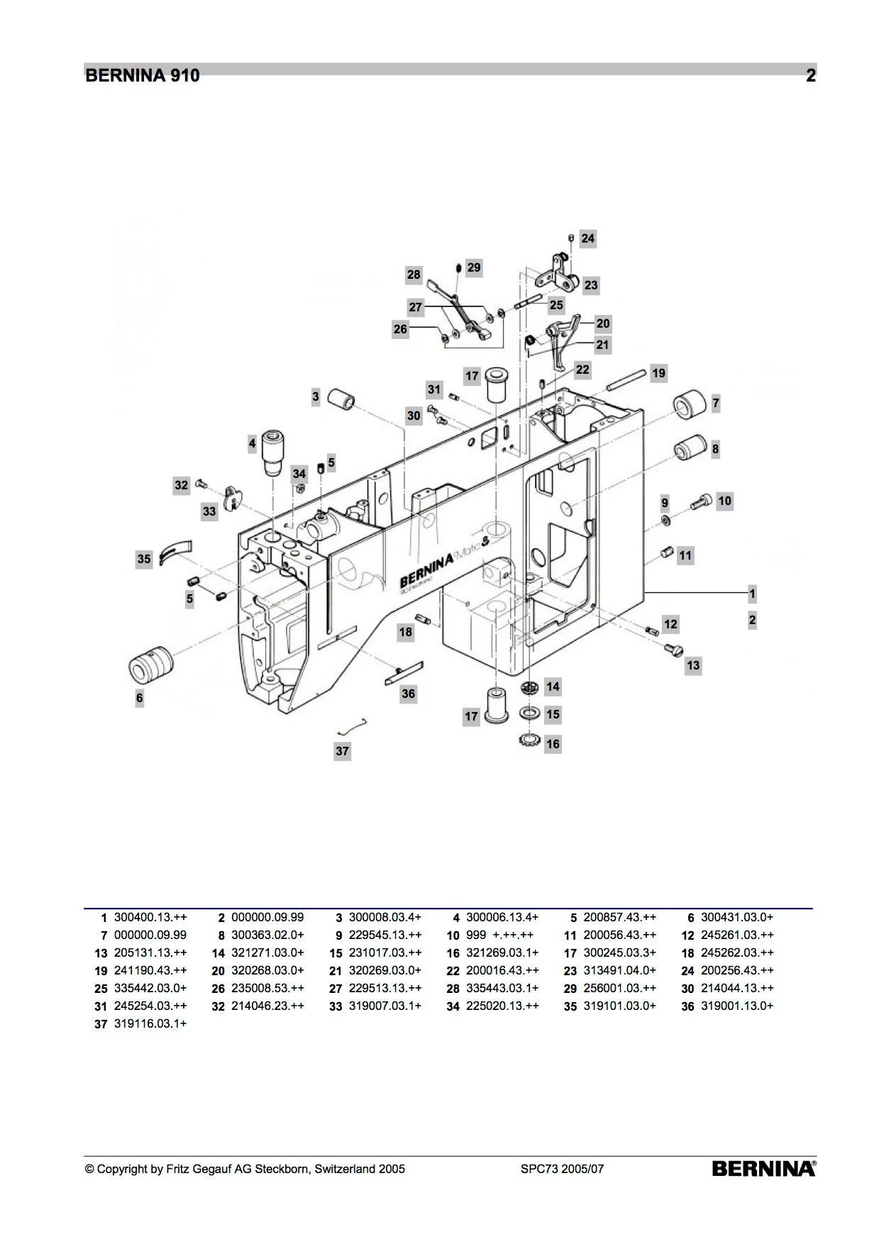 BERNINA Matic 910 Electronic Sewing Machine Service Manual