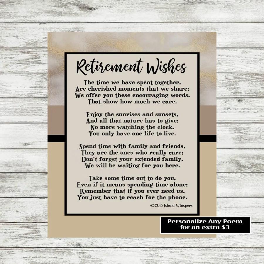 Retirement Poem Retirement Gift Co Worker Retirement Boss