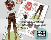 Steampunk Fashion Paper Doll- Mix & Match Digital Paper Doll Download- Printable Paper Doll Dress Set- Steampunk Costume- Dress Up Doll
