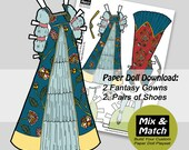 Renaissance Paper Doll Costumes- Princess Doll Dresses- Girls Printable Craft- Fantasy Dress Up Gowns- Children's Printables
