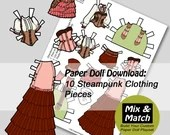 Steampunk Paper Doll- Mix & Match Digital Paper Doll Clothing Download- Printable Paper Doll Coloring Page- Steampunk Fashion Designs