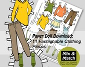 Digital Doll Clothing Download- Printable Kids Craft- Doll Clothes to Print- Modern Doll Clothes- Paper Craft for Children