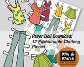 Downloadable Paper Doll Clothing  - Printable Kids Craft- Scrapbooking Printables- Fashion Girl Illustration- Handmade Doll Clothing