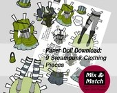 Steampunk Paper Doll- Mix & Match Digital Paper Doll Download- Printable Paper Doll Clothing Set- Steampunk Fashion- Dress Up Doll